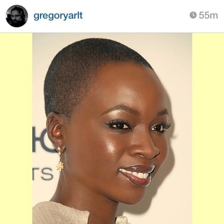 Danai Gurira. Makeup by Gregory Arlt (via Instagram)